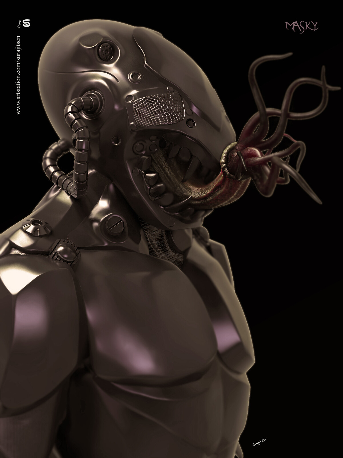 """""""Masky01"""" Wish to share one of my old Concept Digital sculpt study!  I tried to create a form of my thoughts. Hope you like it."""