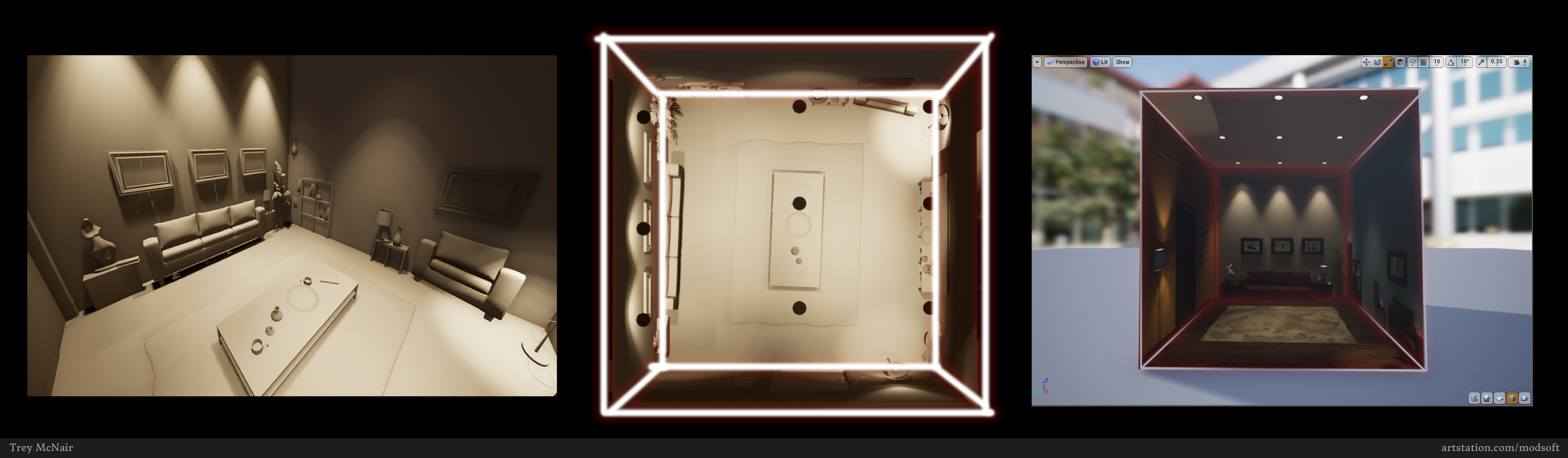 Capture a cubemap in the editor with 'SceneCaptureCube'. Make sure your room is an equal sides cube. Common practice is to scale set dressing against each  wall to not have forms stretched across the room edges in the capture. Capture from room center.