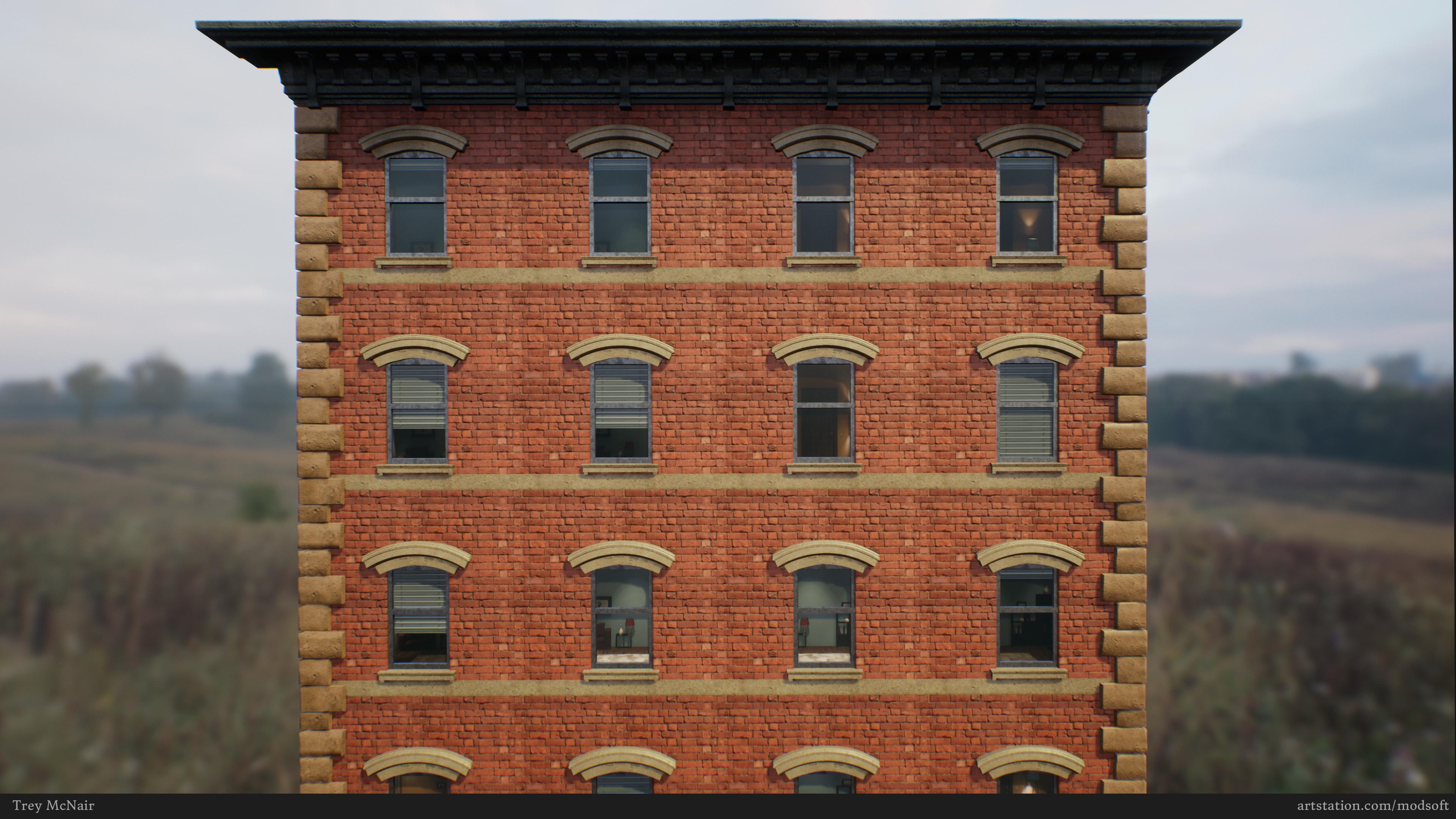 Brick building windows test