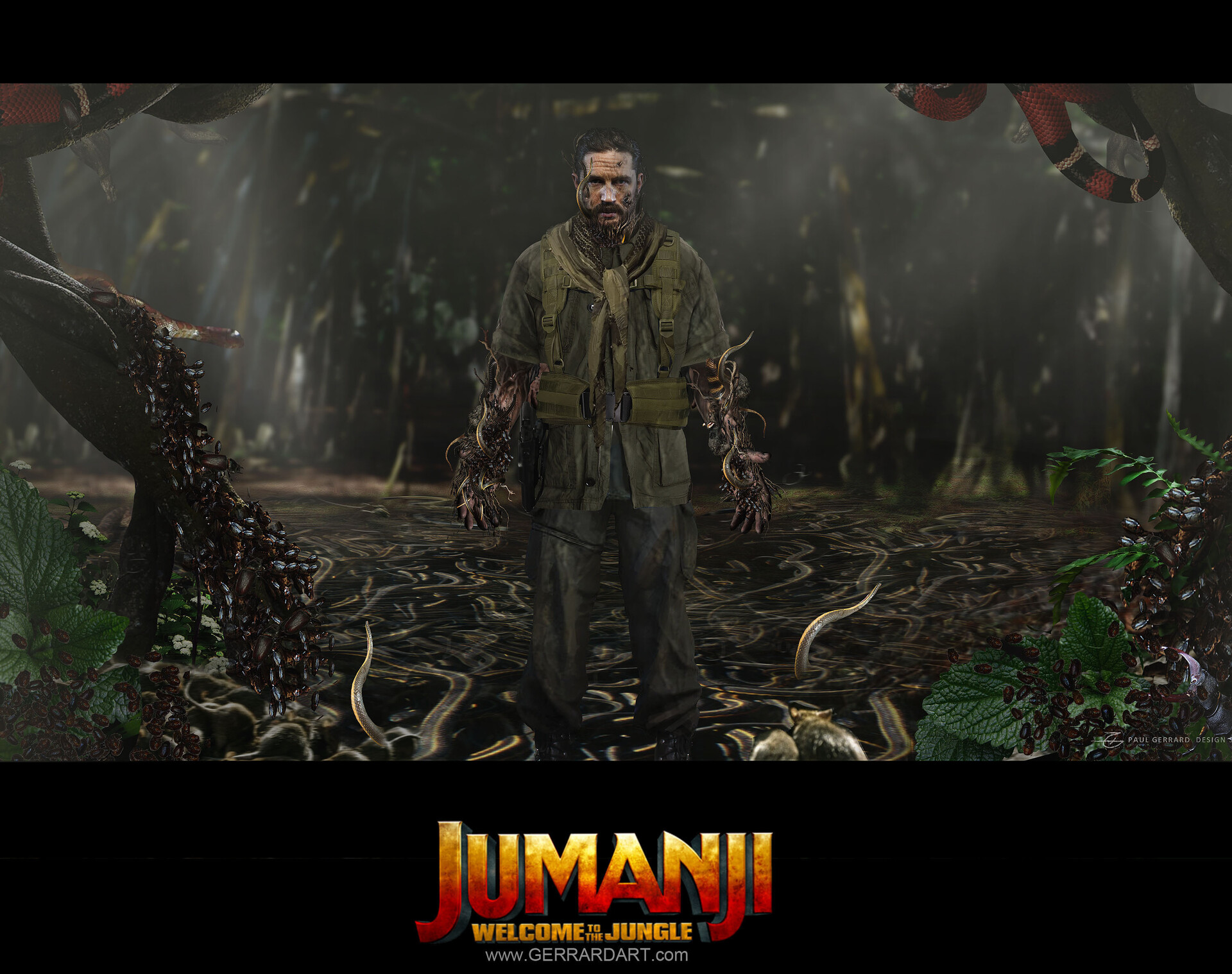 Previously unreleased concept art from the movie JUMANJI. I believe some of these scenes where cut and using an actor that never got cast.