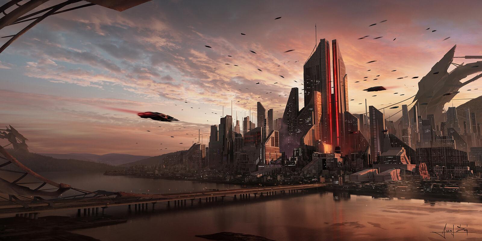 Cyberpunk cityscape sunset