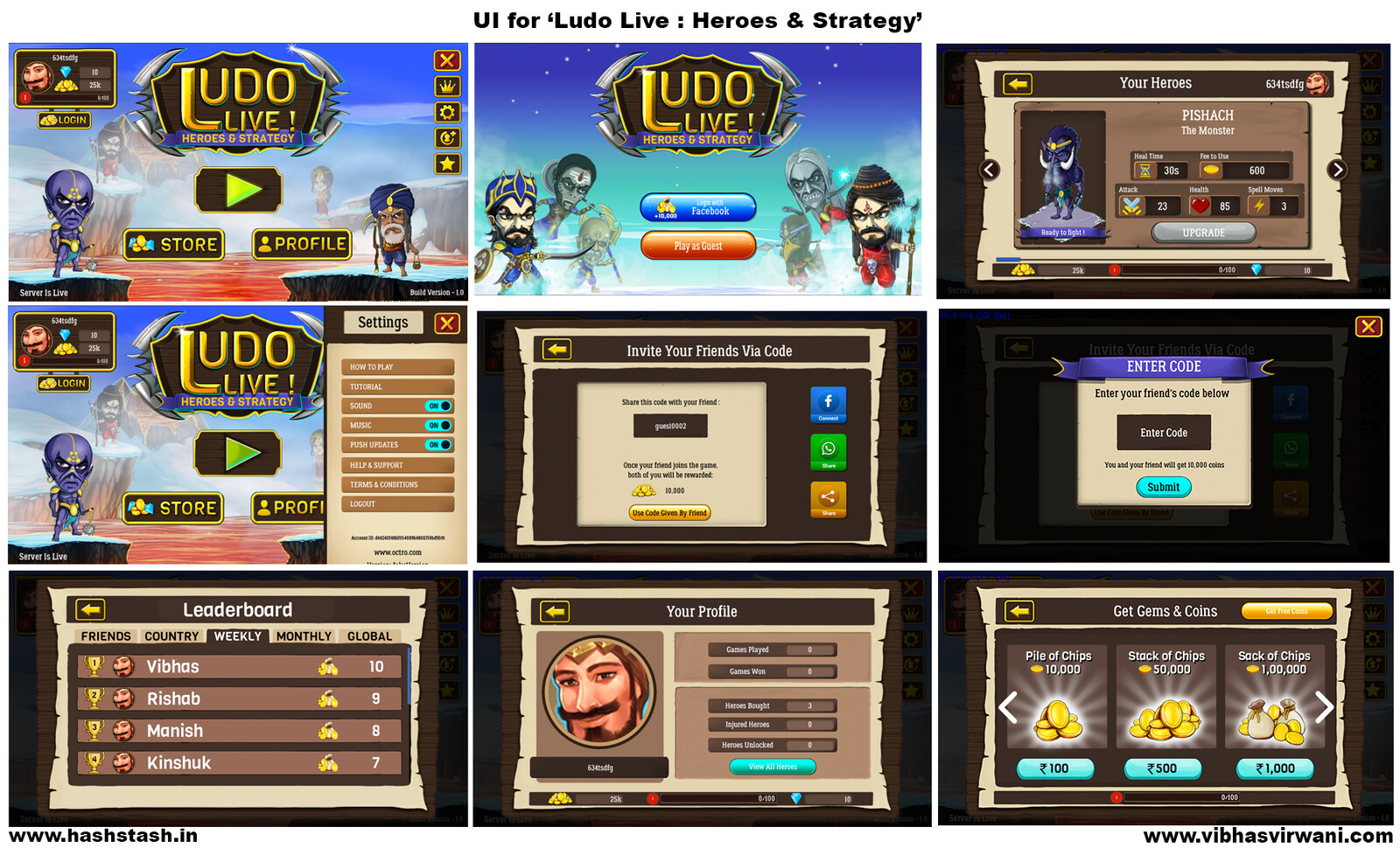 UI game screen designs for the android/ios game.