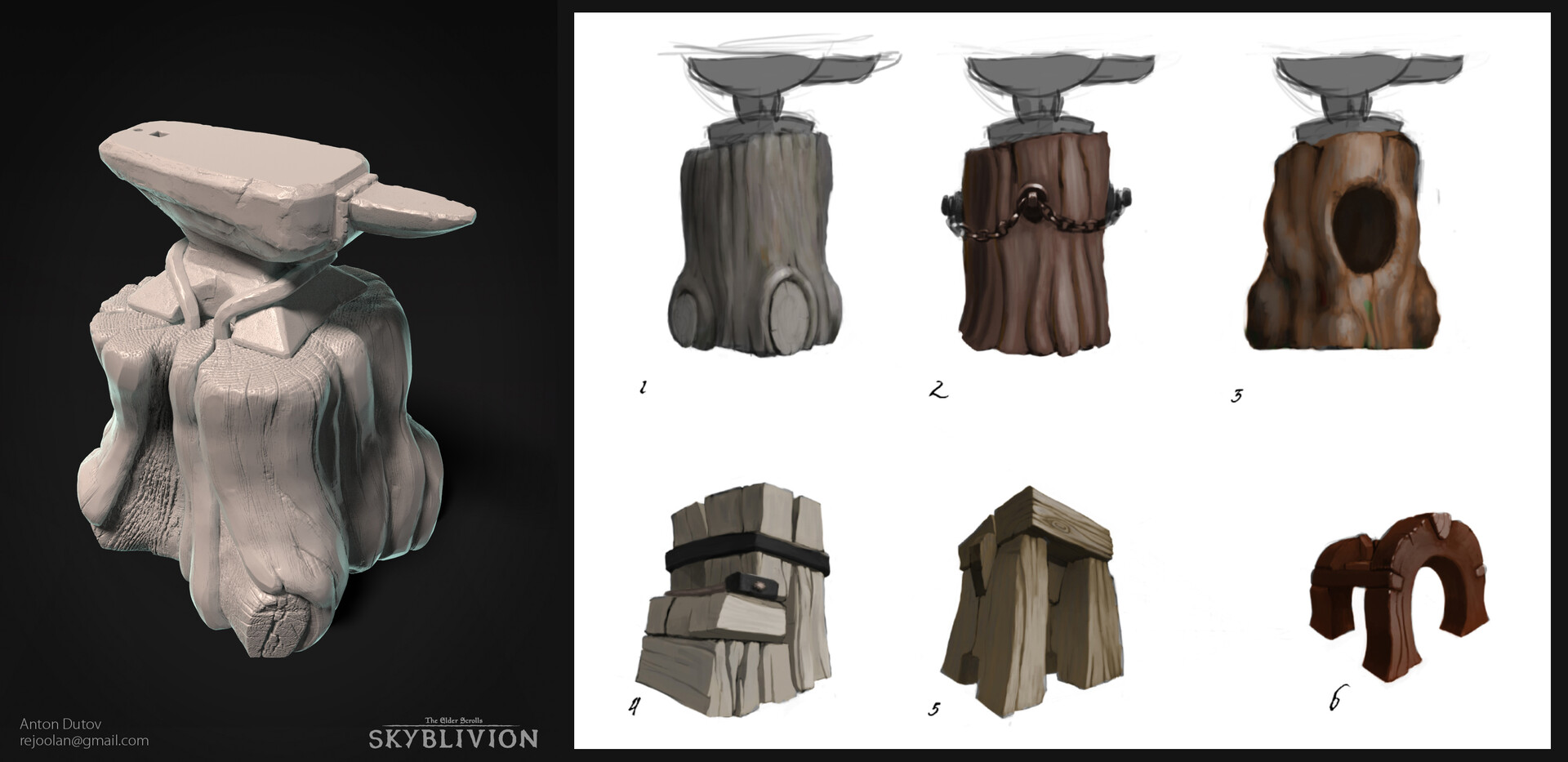 Forge stump highpoly and concepts
