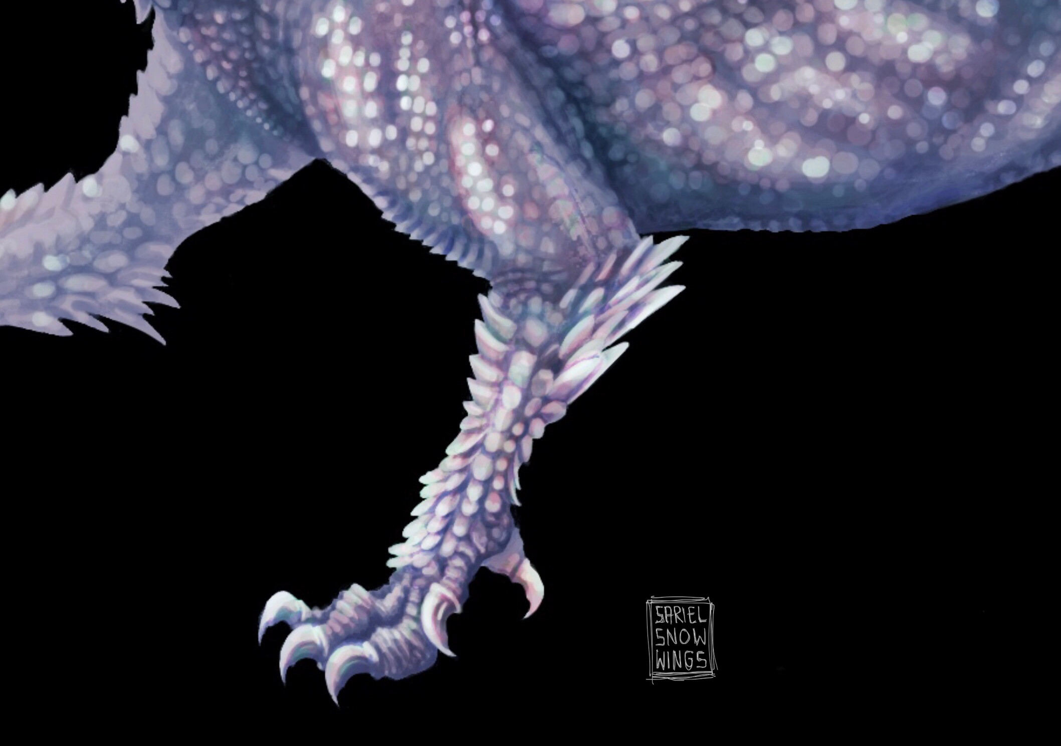 A detail shot of the left arm's talons. Inspired by birds and other dinosaurs.