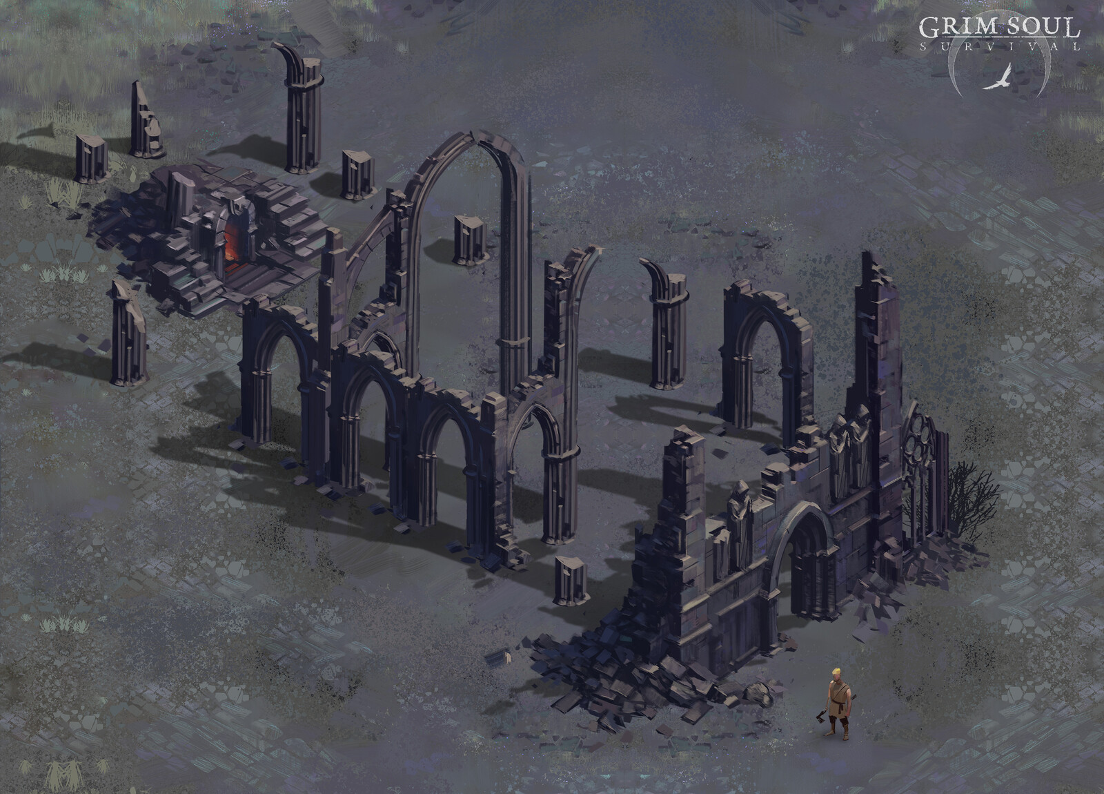 Ruins of a cathedral that served as an entry point to the dungeon.
