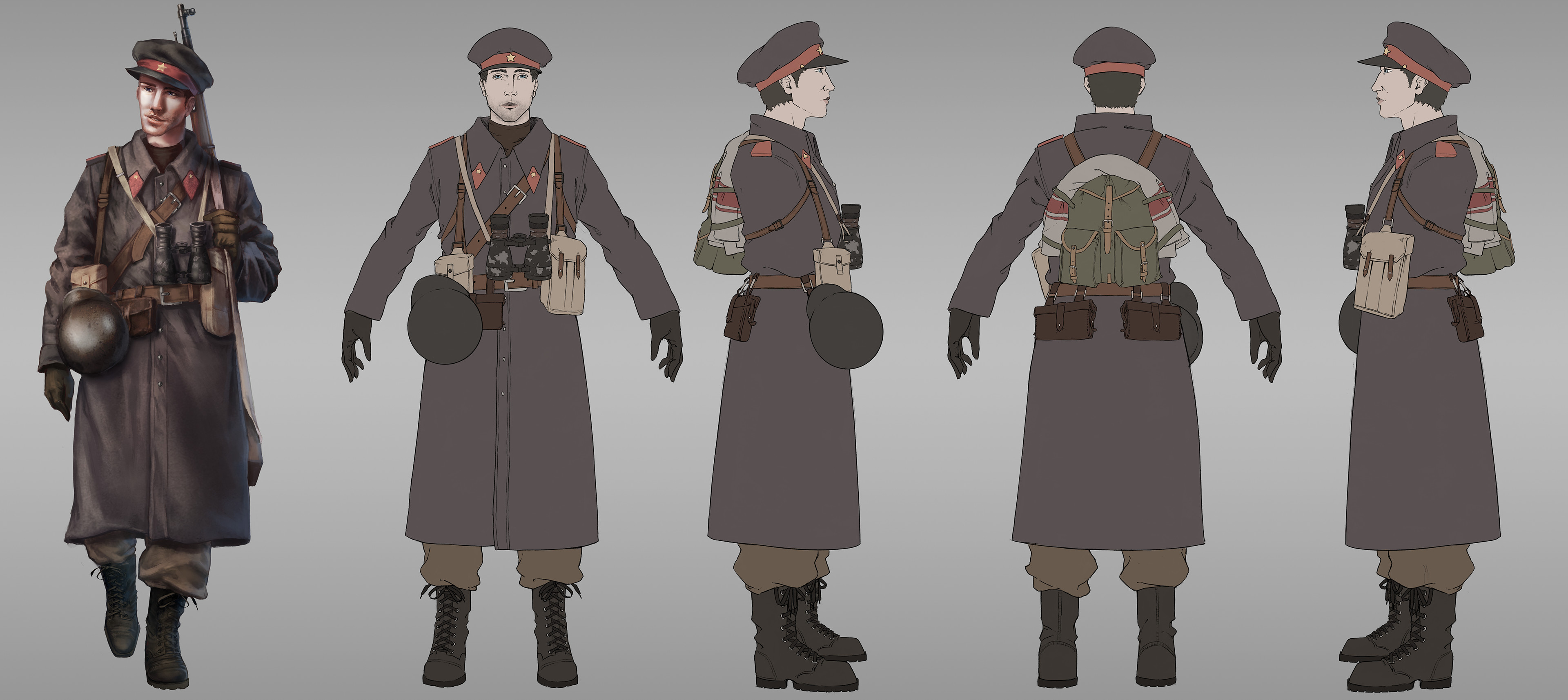 Soviet/USSR character deisgn breakdown. To break up my 3 silhouettes within the team, I decided to go with a long coat for the Soviet soldier, since it's such a easily recognizable aspect of their uniform.