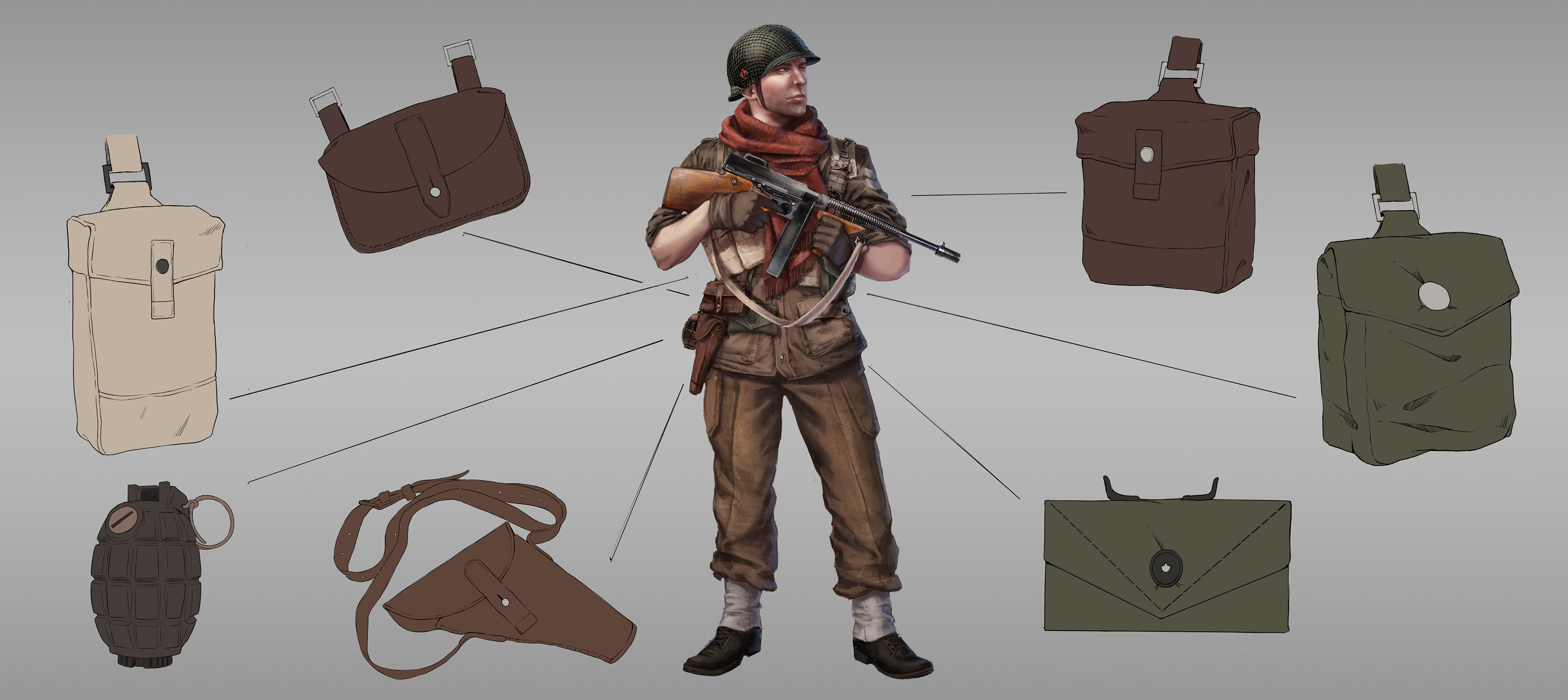 Britian details design breakdown. This one got to be full on offensive! I wanted to give him more offensive tools such as grenades and many ammo bags, and a smaller gun as back up och for close range.