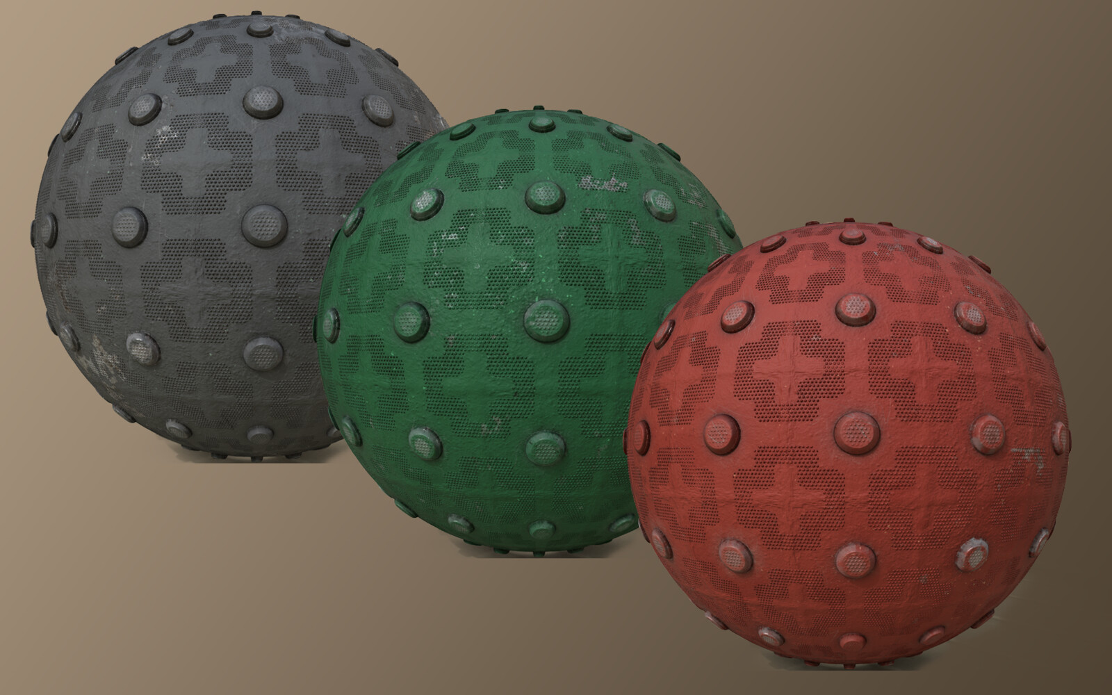 Examples of the exposed color parameter while also showing the variations of randomizing the wear&tear.