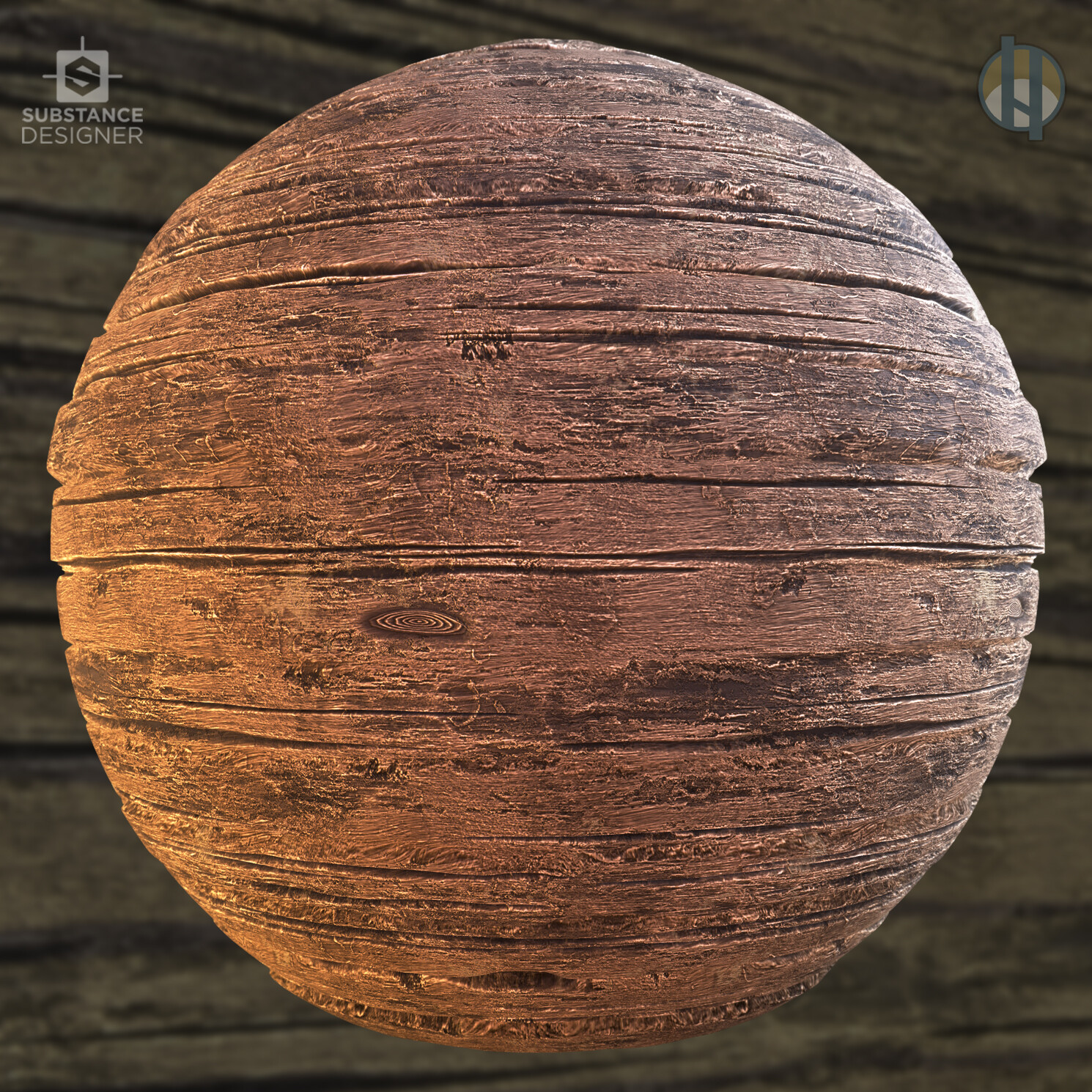 Justin hrala rough wood 01 sphere