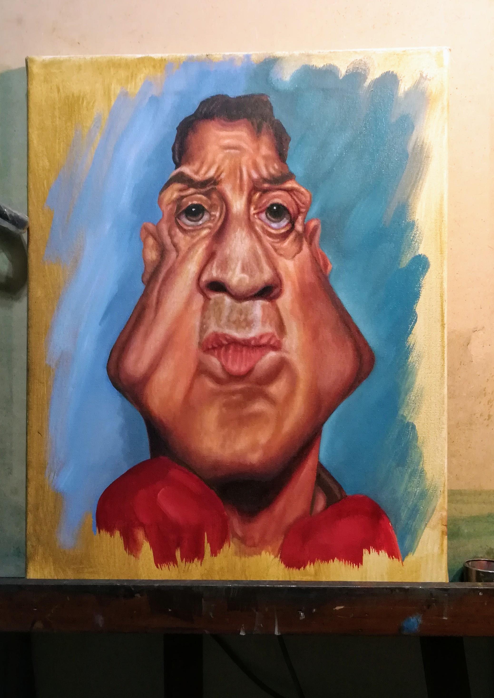 Oil Caricature Stallone