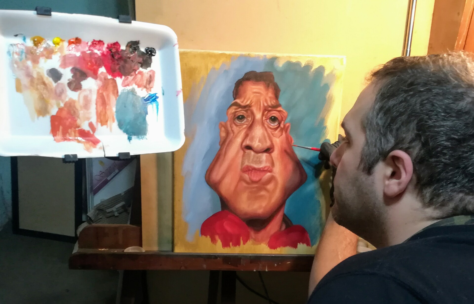 Oil Caricature Stallone 2