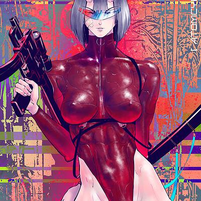 Atom cyber cyberpunk girl