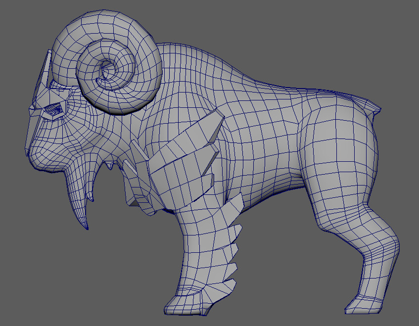 Wire frame of model in Maya viewport. Tri-count: 8460