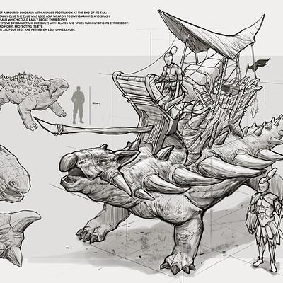 Dot line surface art studio ankylosaurus mockup