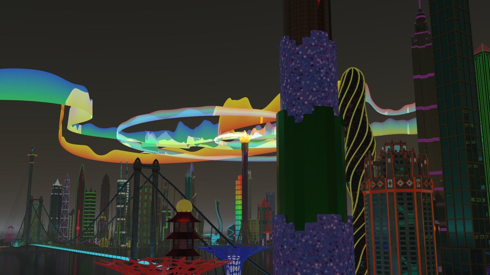 Light Tower aurora show