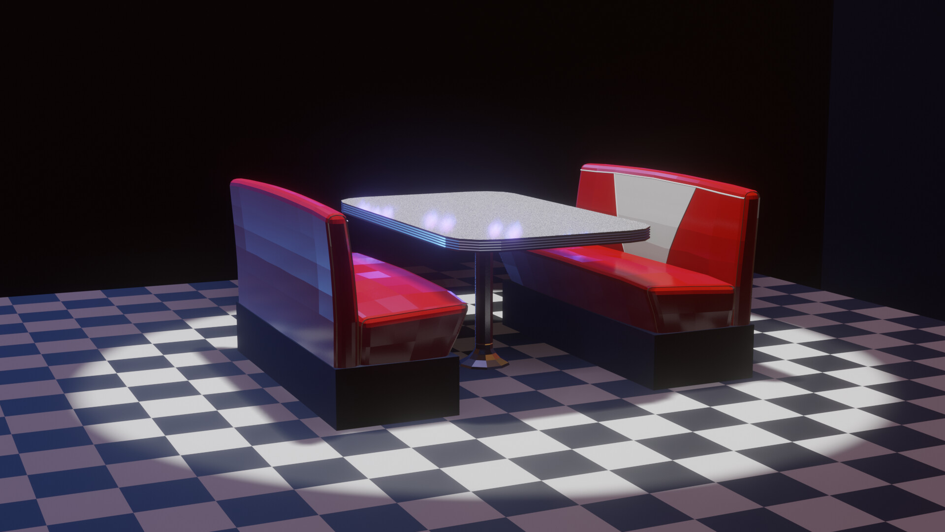 Gustavo Siebel 50s Diner Booth Low Poly