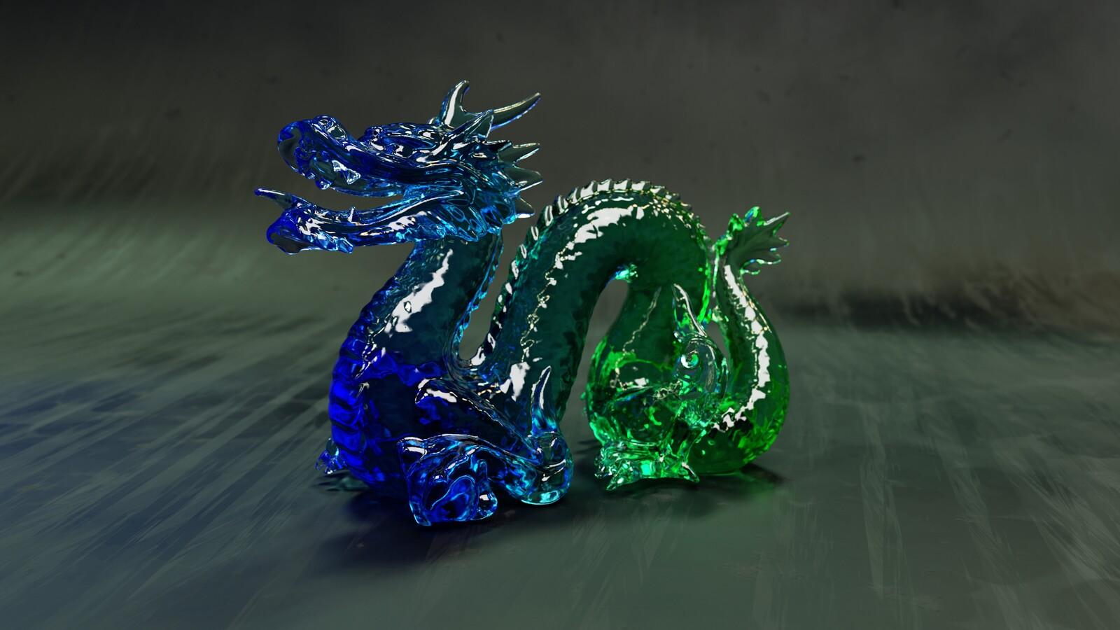 Blue-Green Glass Dragon