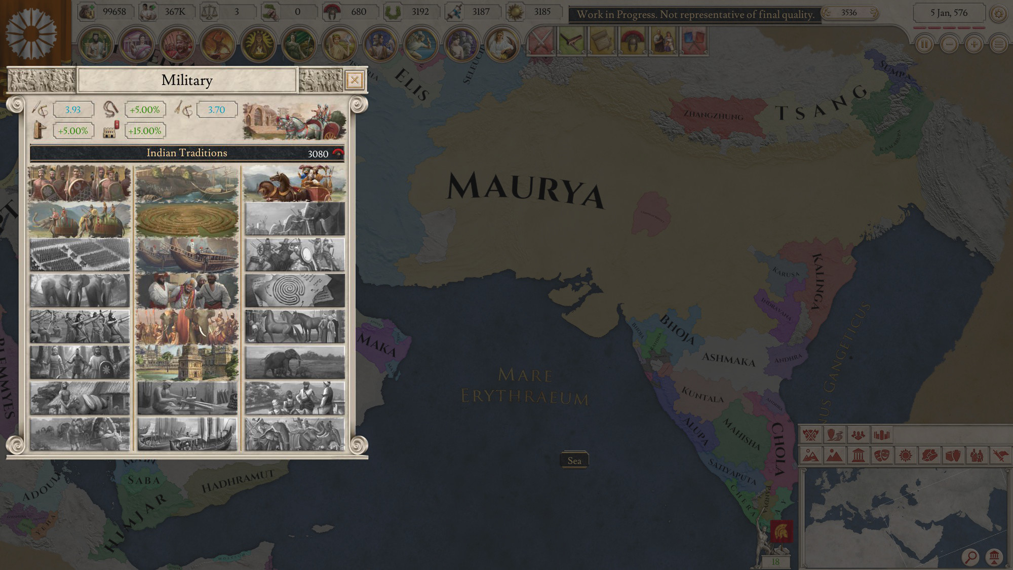 """Imperator: Rome Example of in-game look of """"Military tradition"""" artworks"""