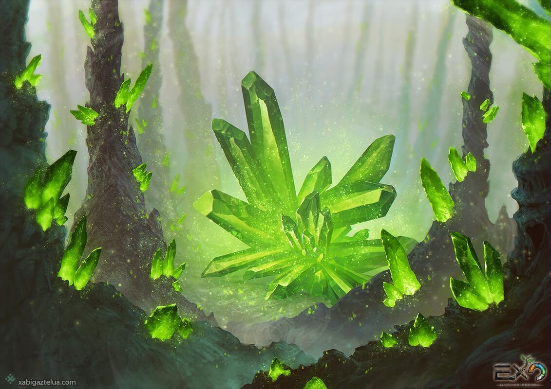 Xabi gaztelua crystal stone forest green low