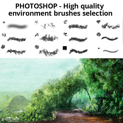 Photoshop High Quality environment brushes selection