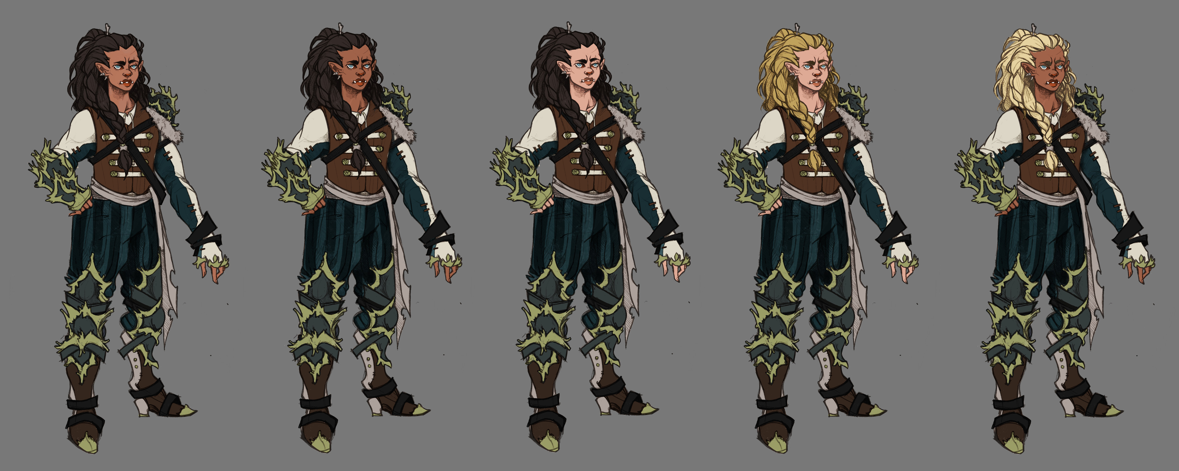 Skin tone tests, referencing Jaina, Mag'har orcs, and Thrall's other children. Final is on the far left.