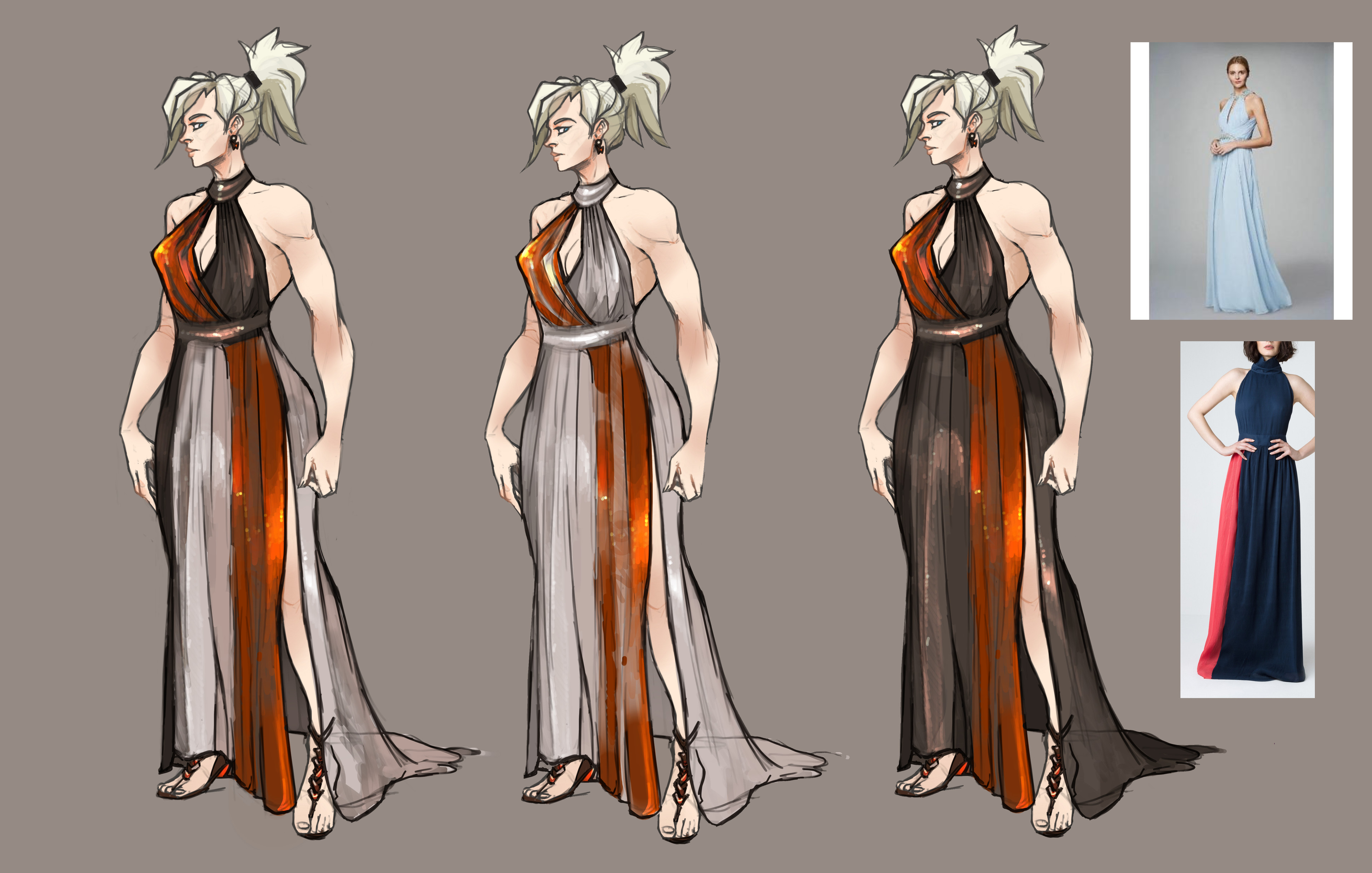 Ideations with research. Chiffon with a bit of shine, I'm also really digging the strips of brighter color.