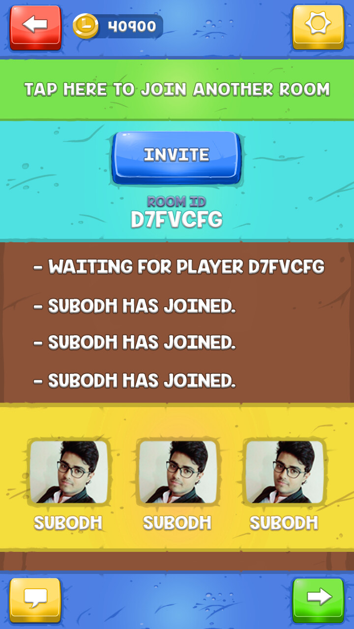 Multiplayer invite screen