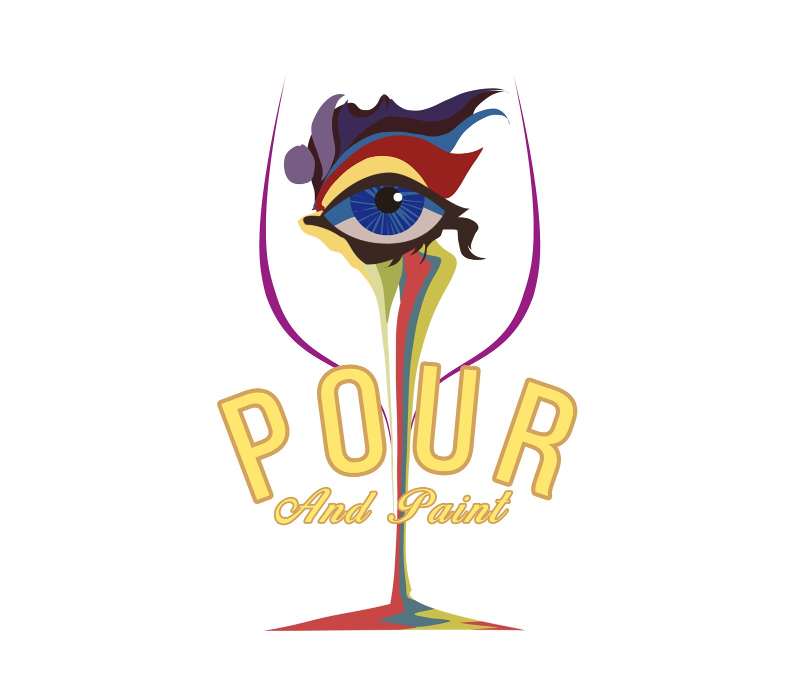pour and paint logo concept