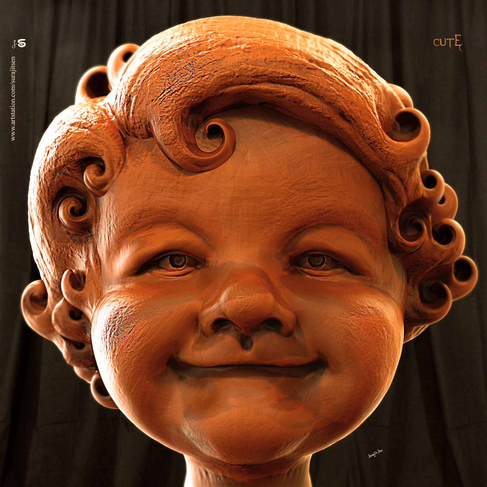 One of my Speed Digital Sculpting study... Cute... Played with brushes.  Background music- #hanszimmermusic