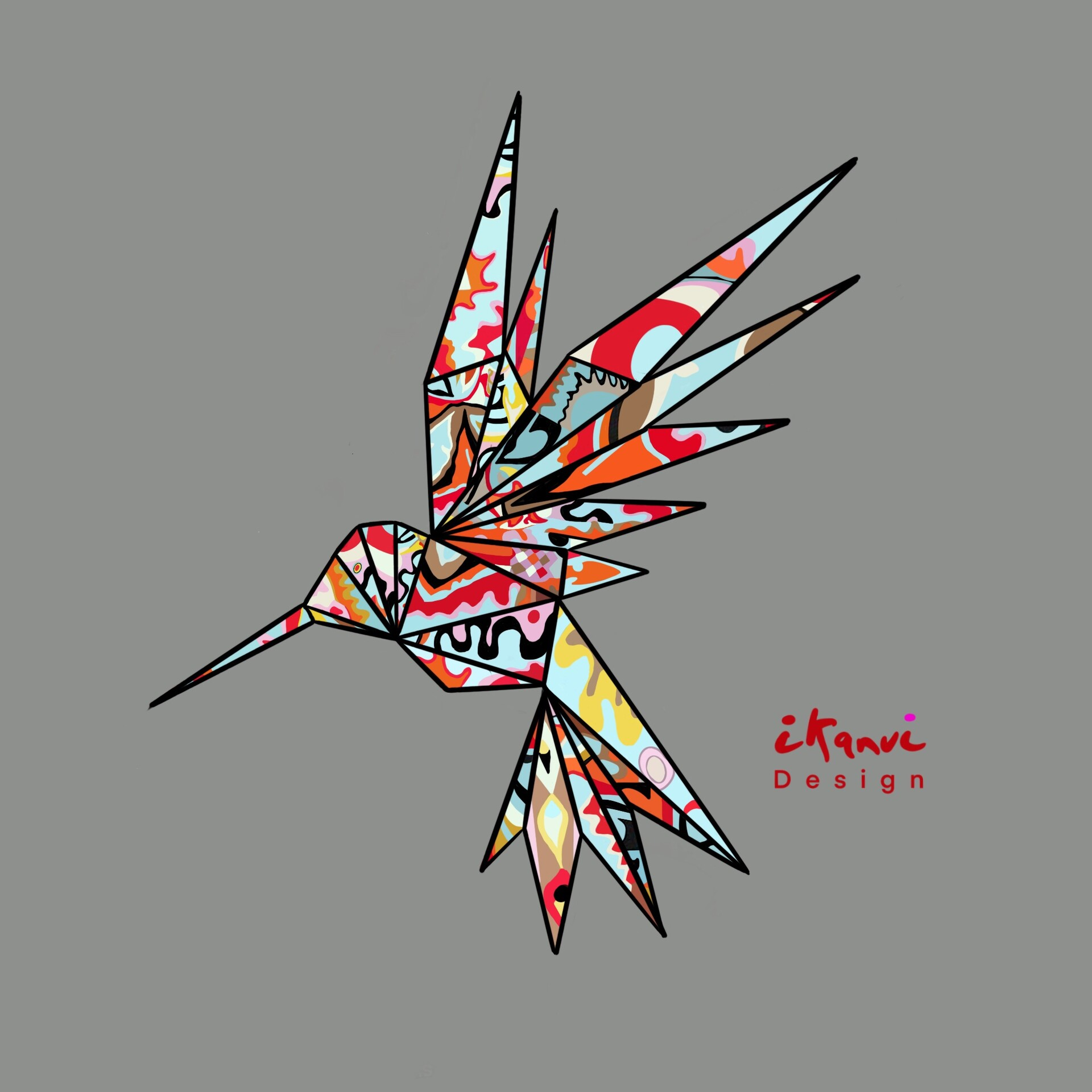 Christina Ernst - 'Origami hummingbird'   Photocircle.net   1920x1920