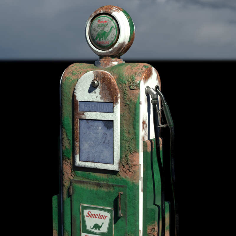 Worn 1950s Sinclair Gas Pump