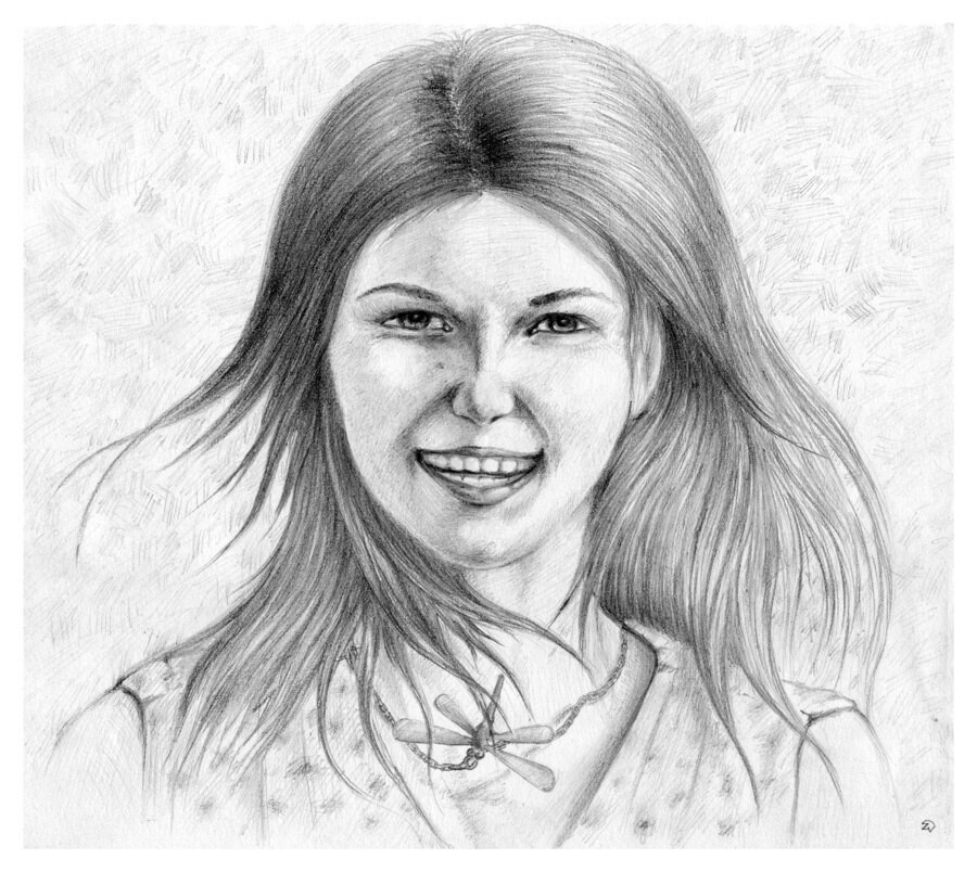 Girl, portrait with a dragonfly necklace. paper/pencil 8x6 inches