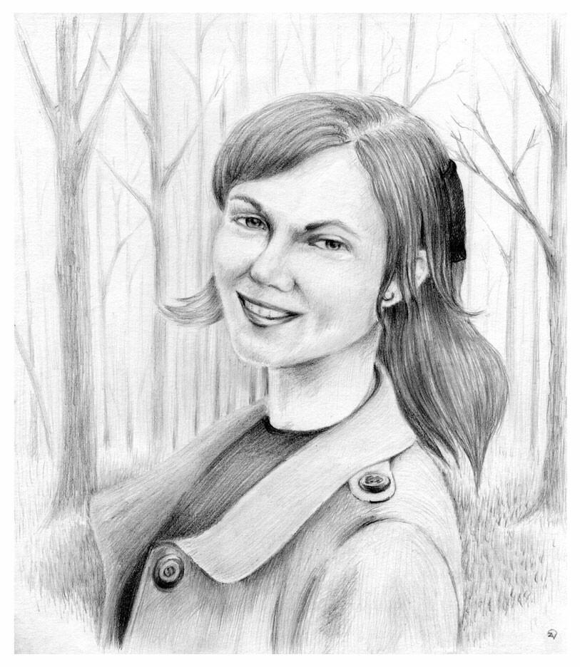 Girl, portrait in the park. paper/pencil 6x6 inches