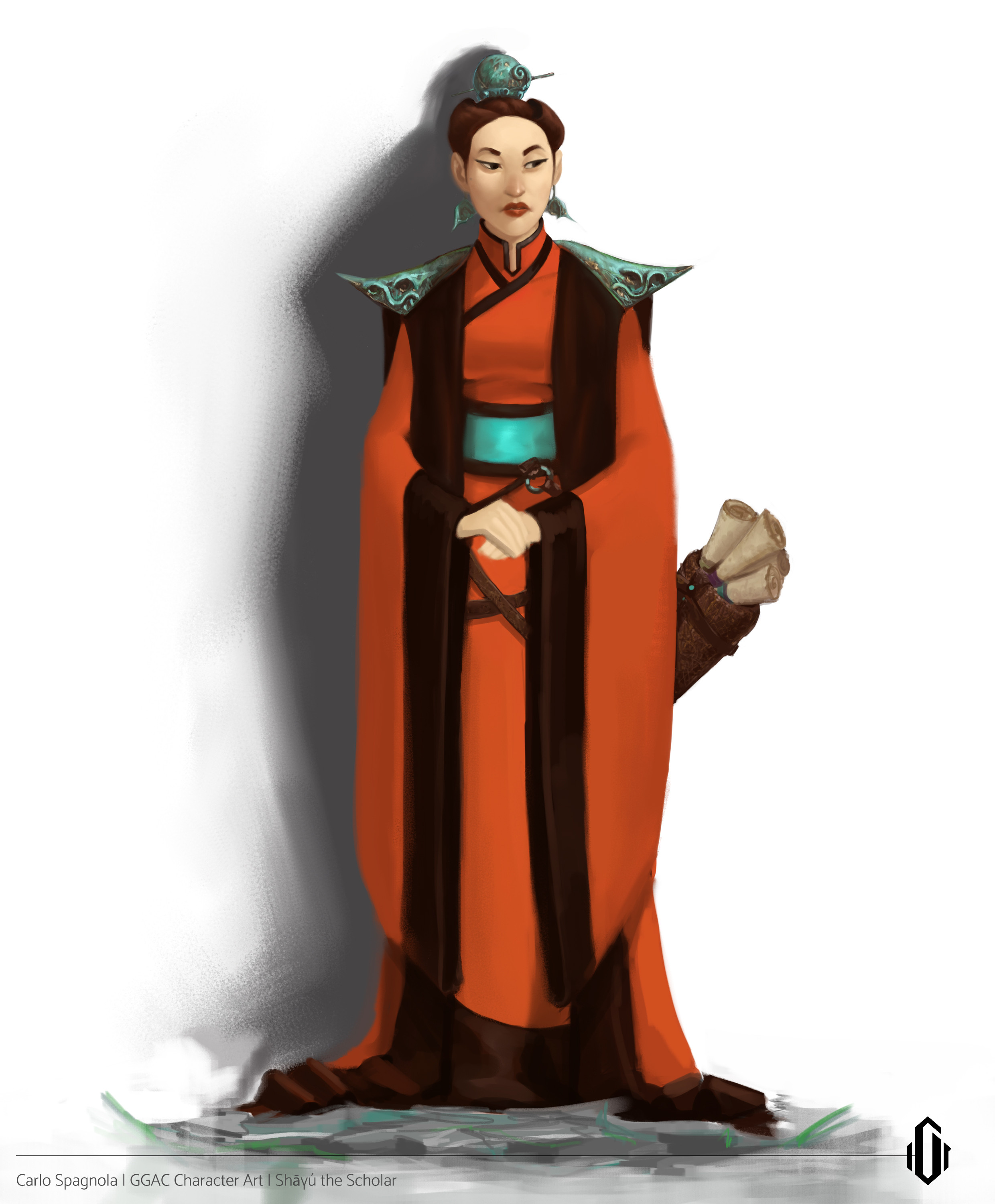 Shāyú (a self given name, no one really cared to ask her real name) is a tenacious savant. When she was told she couldn't be a scholar due to her birth class, not only did she ignore it, but she promptly fitted a bucket of chum to the King Scholar's head