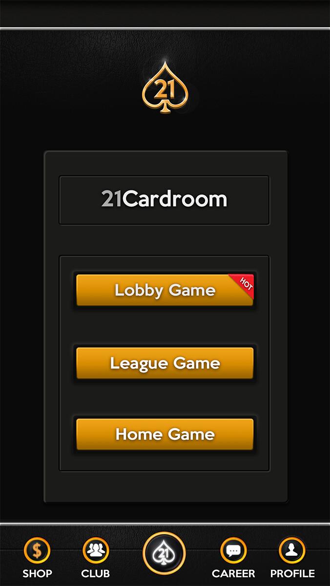 Main menu screen UI