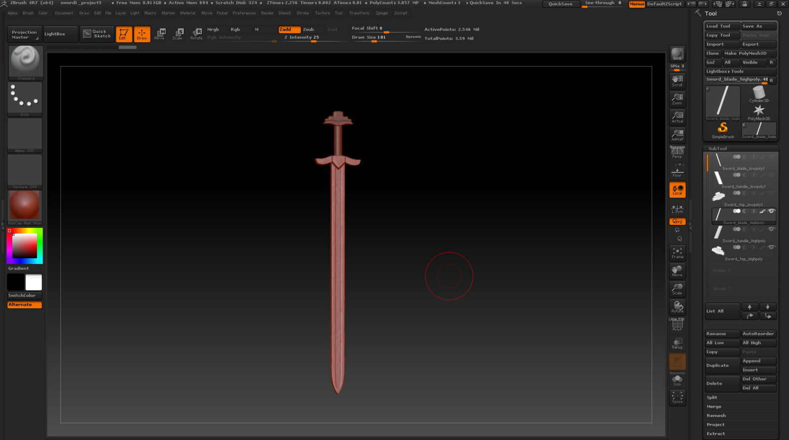 Viking Sword Zbrush WIP Screenshot