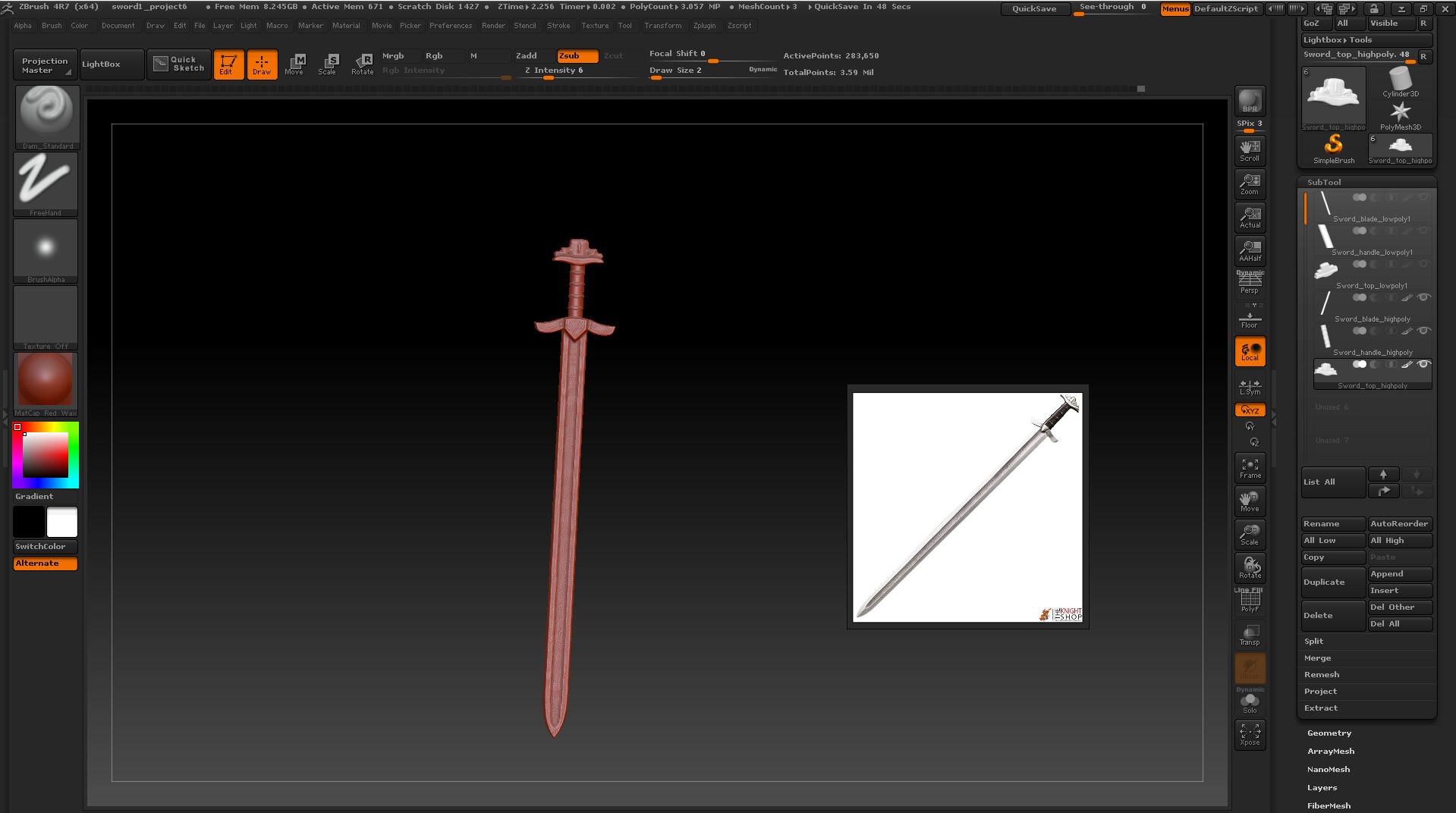 James skinner zbrush sword wip2