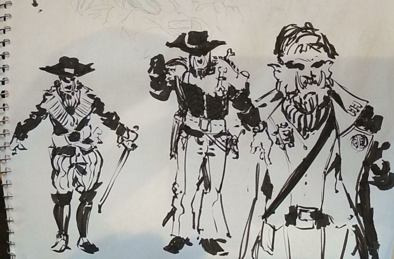 Doodles coming up with a design for the main pirate