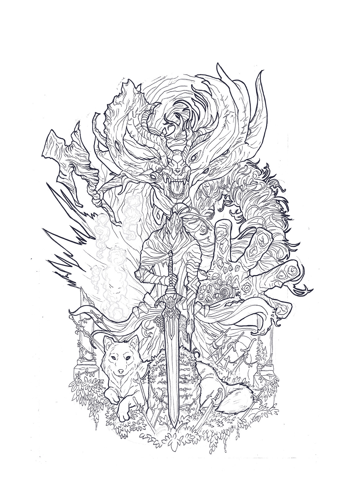 Line-Art made with traditional ink.