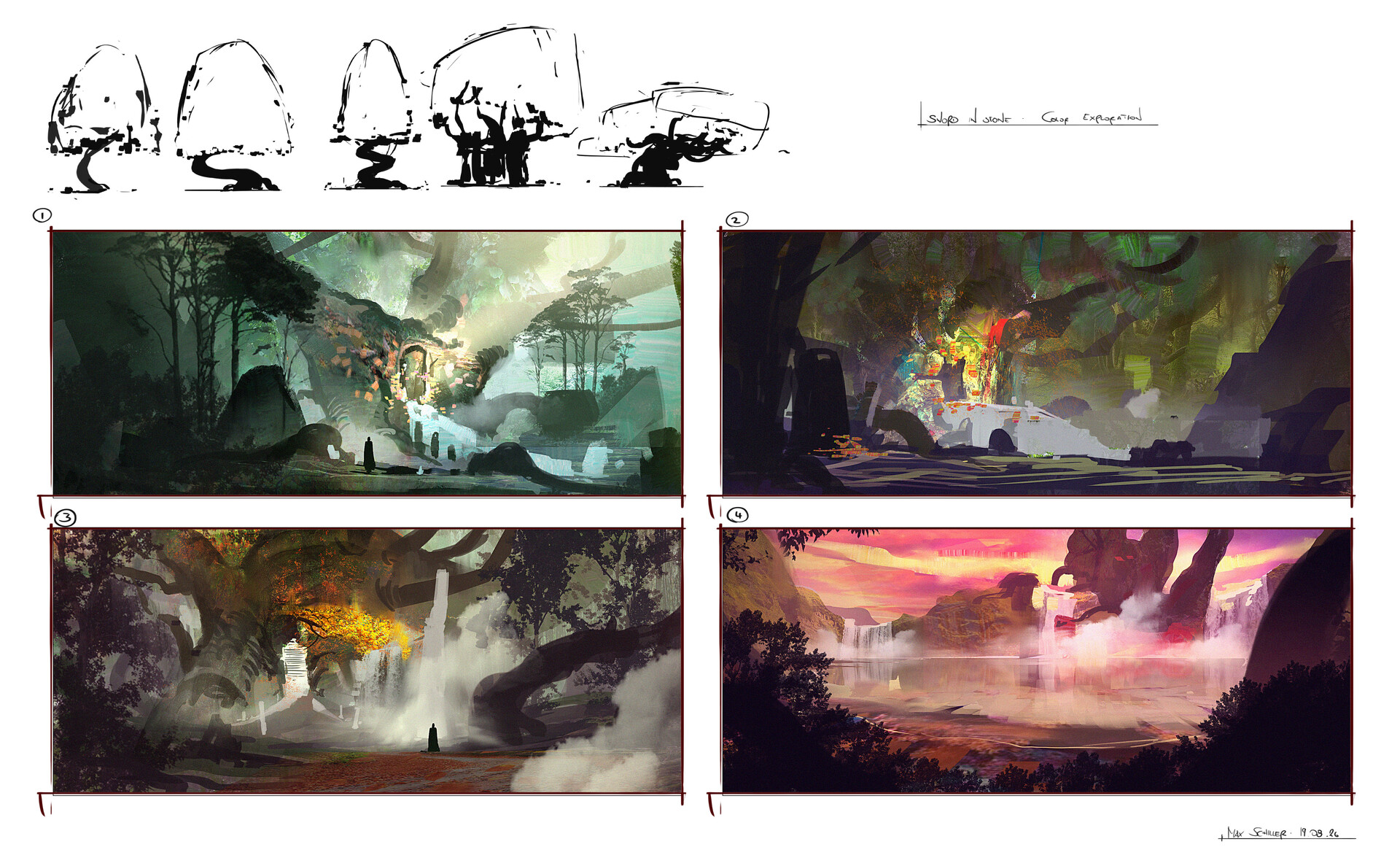 First color sketches to explore the colors and mood.