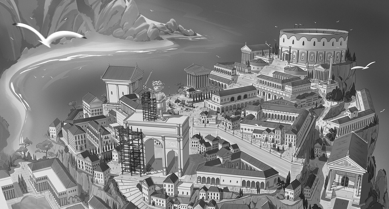 """Bird view concept of the city of Constantinopolis. This is an early stage version, before it was turned in a more """"defensive"""" town."""