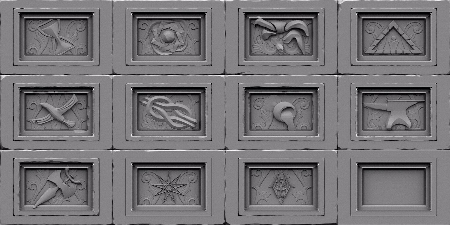 I modeled the divine reliefs but then were sculpted by another team memeber Ravanna, his work can be found here. https://www.artstation.com/ravanna