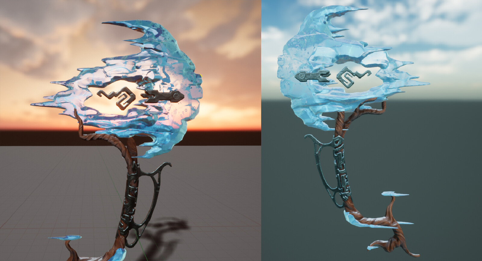 Some screens from UE4 showing the asset in different lighting scenarios. The ice material has some paralax in the cracks/bubbles.