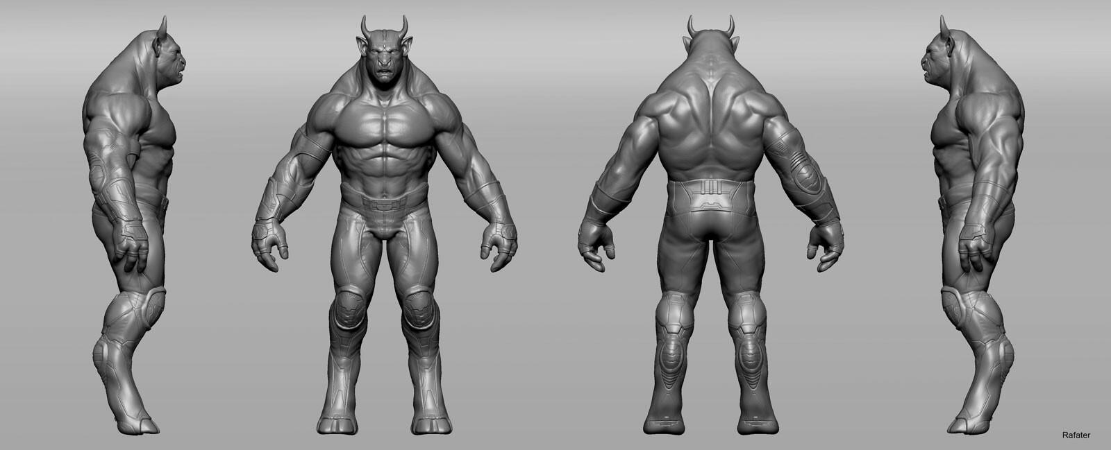 Rafael teruel minotaur creatuanary rafater character anatomy pants