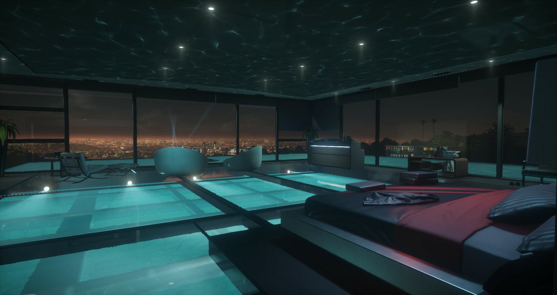 Rork's tacky poolhouse bedroom