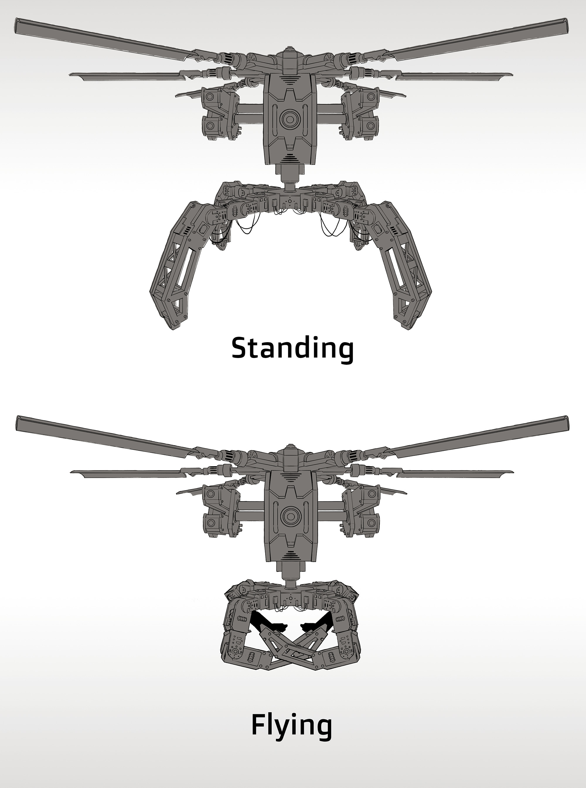 Animation ref of standing vs flying.