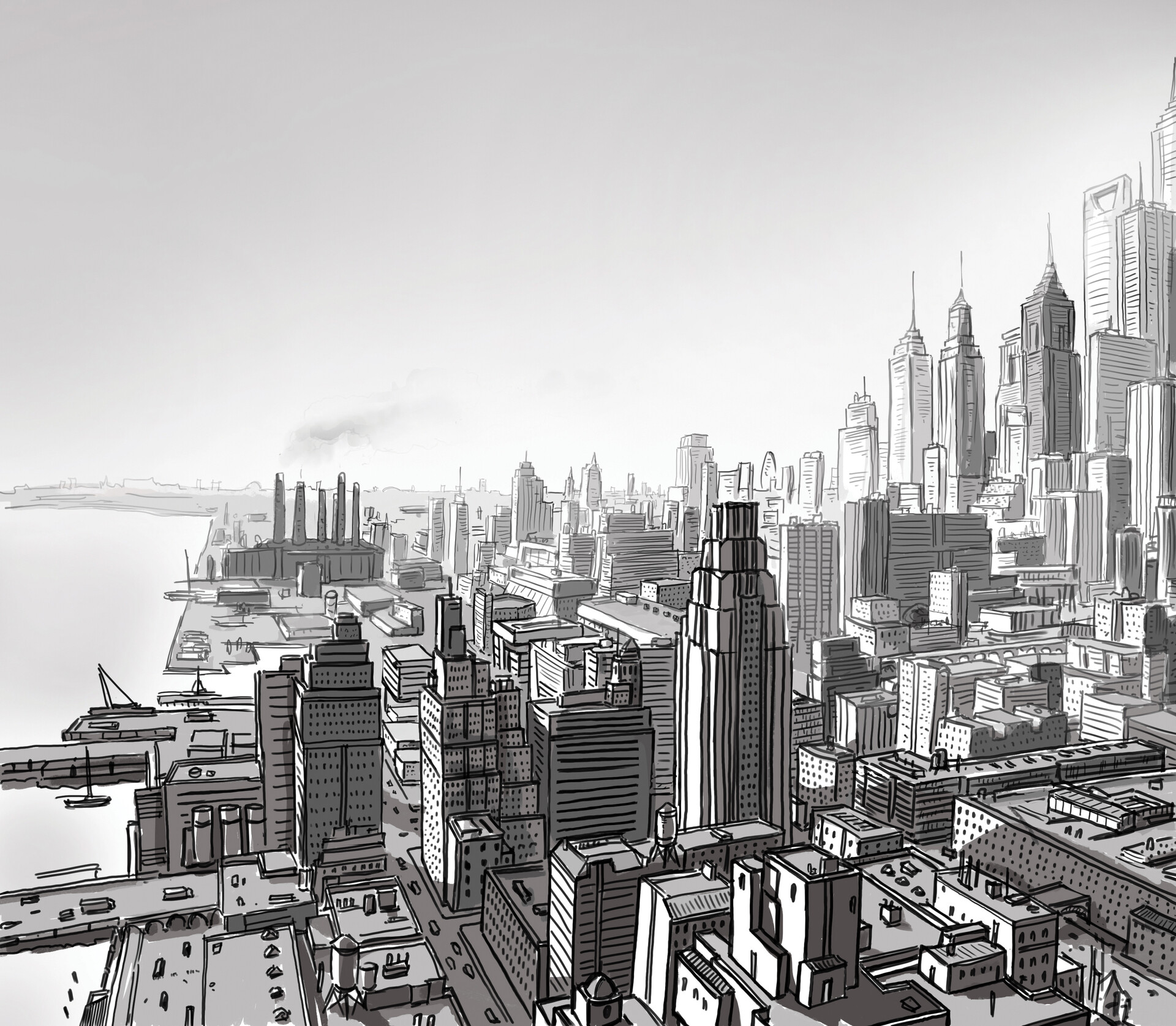older study drawing of 1920s New York - digging this up in some folder gave me the idea to make a new drawing out of it. In the end I redid the whole city, but it inspired me nevertheless.