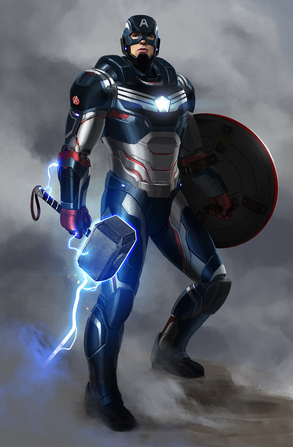 Fan art of Captain America, armored by Stark.