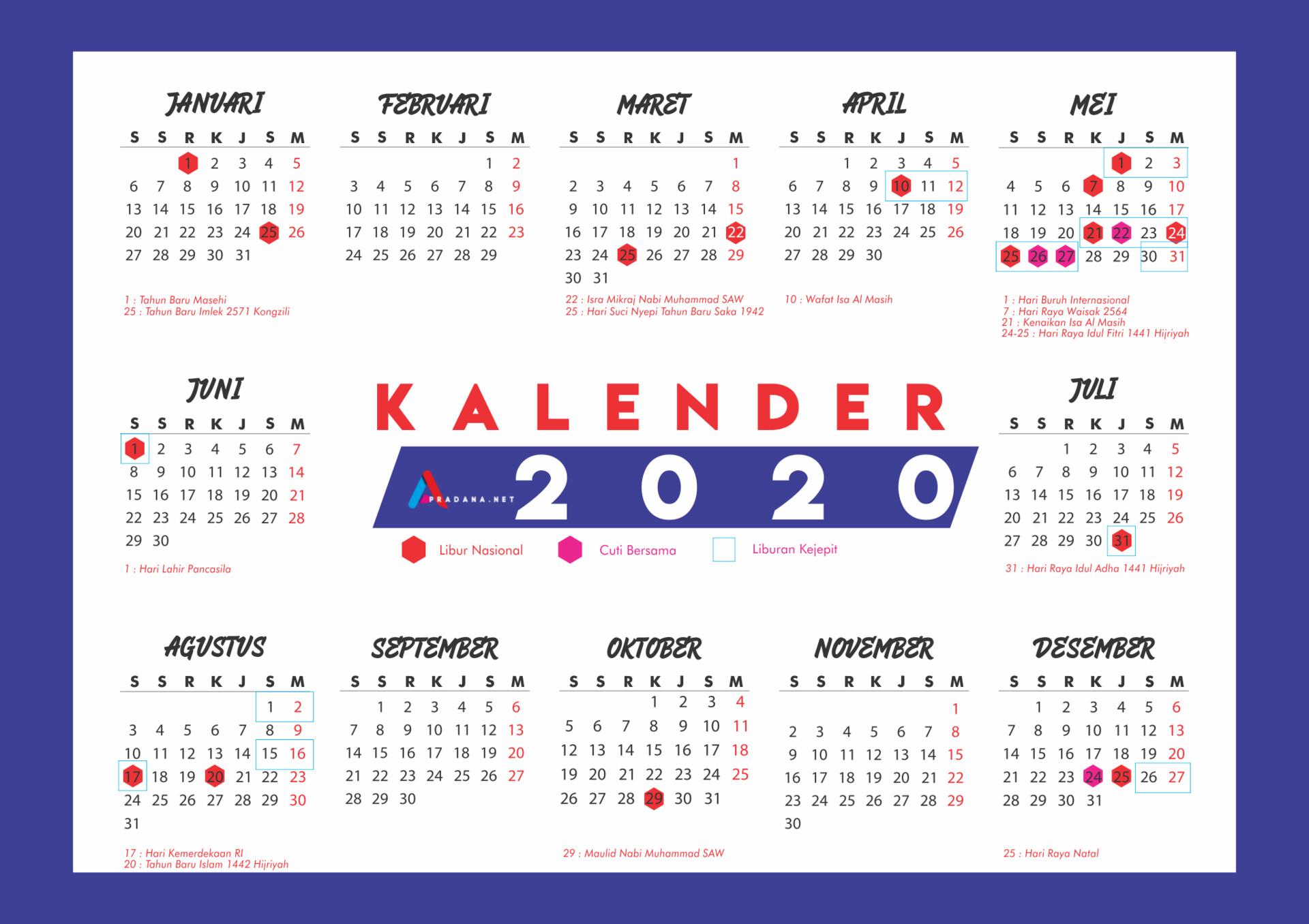 ArtStation - Kalender 2020 Indonesia, Andrew Pradana