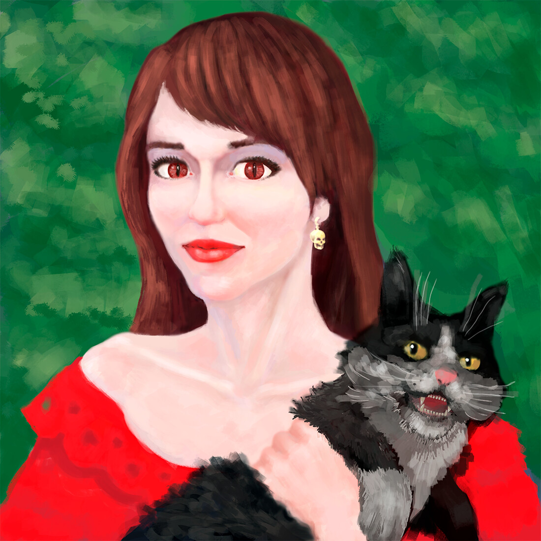 Girl, portrait with an angry cat. digital 2D/Wacom Intuos S